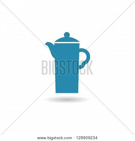Coffee pot computer colored icon web button business badge or label as sticker on white background