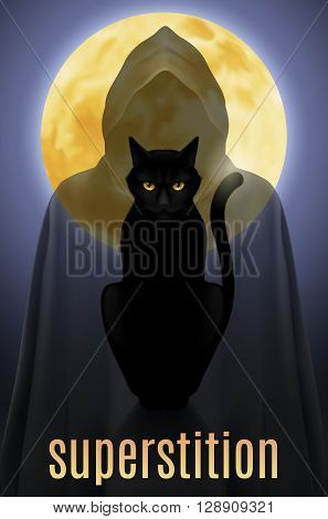 Black cat sitting on a background of the full moon and the shadow of death
