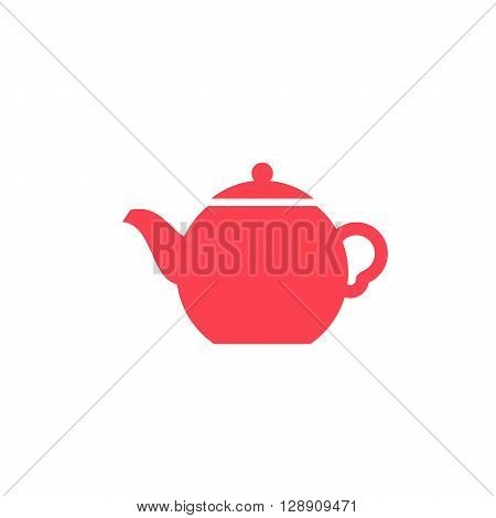 Teapot computer colored icon web button business badge or label as sticker on white background