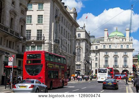 LONDON UK - JUNE 7 2015: Regent's street . It was named after Prince Regent completed in 1825. Every building in Regent Street is protected as a Listed Building.