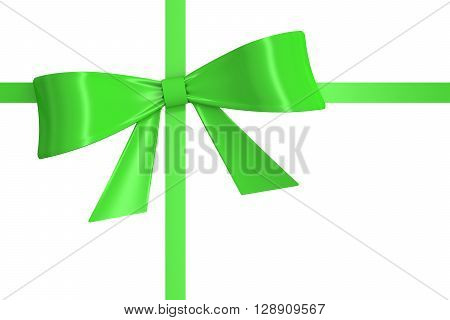green ribbon with bow. 3D rendering isolated on white background