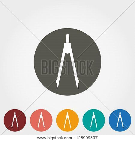 Measuring instrument Calipers Icon for web and mobile application. Vector illustration on a button. Flat design style.