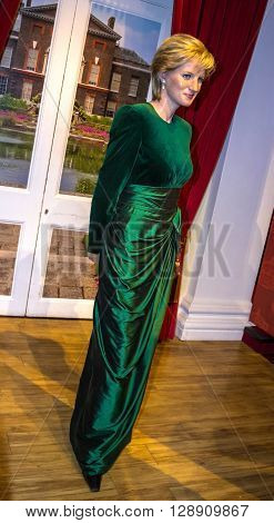 LONDON UK - JUNE 7 2015: Lady D Princess Diana Madame Tussauds wax museum in London. Marie Tussaud was born as Marie Grosholtz in 1761