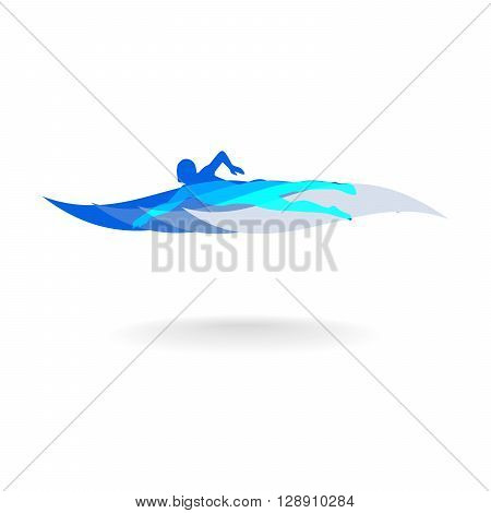 Swimmer Logo Design Element. Swimmer icon illustration. Vector sign swimming in the pool. Swimmer in Vawe. Swimming icon.