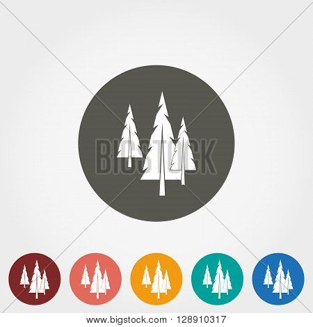 Spruce, christmas tree Icon for web and mobile application. Vector illustration on a button. Flat design style.