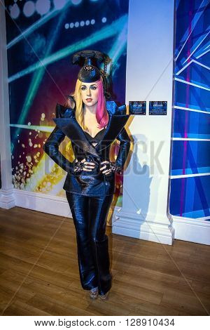 LONDON UK - JUNE 7 2015: Lady Gaga the singer Madame Tussauds museum in London. Marie Tussaud was born as Marie Grosholtz in 1761