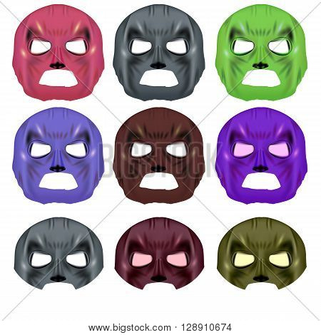 Set of Colorful Superhero Masks Isolated on a White Background