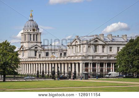 London, United Kingdom - August 20, 2009: Building of Greenwich University located in the grounds of the Old Royal Naval College, and in Avery Hill and Medway.