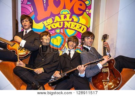 LONDON UK - JUNE 7 2015: Beatles wax figures in Madame Tussauds museum. Marie Tussaud was born as Marie Grosholtz in 1761