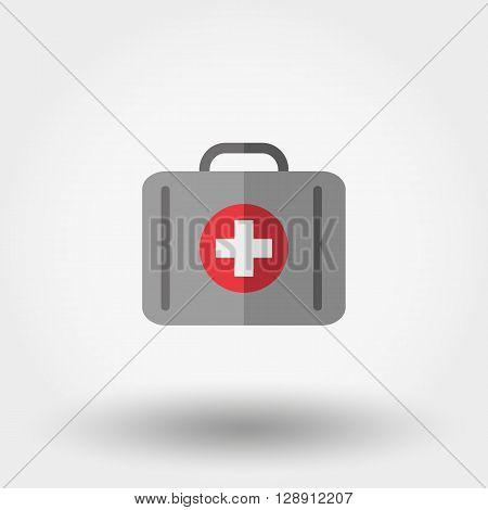 First aid kit. Suitcase first aid. Icon for web and mobile application. Vector illustration on a white background. Flat design style.