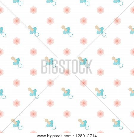 Baby Nipple and pink flowers. Seamless vector illustration. Swatch inside.