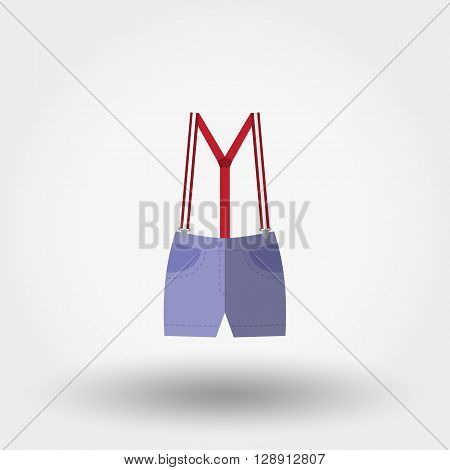 Shorts with suspenders. Icon for web and mobile application. Vector illustration on a white background. Flat design style.