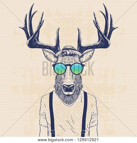 illustration of deer dressed up like cool hipster
