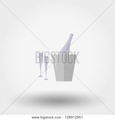 Bottle in ice bucket and two glasses. Icon for web and mobile application. Vector illustration on a white background. Flat design style.