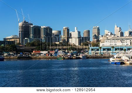 Sydney CBD city view of Barangaroo and Central Business District. Office and residential skyscraper buildings of Sydney NSW Australia