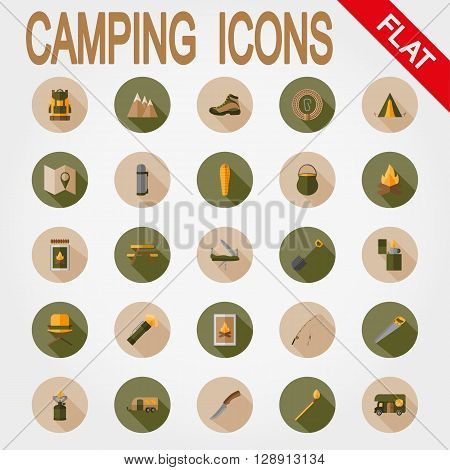 Camping. Icon set for web and mobile application. Vector illustration on a button with a long shadow. Flat design style.