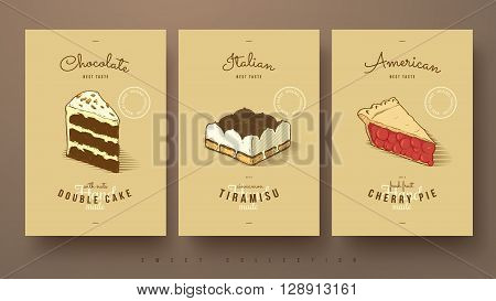 collection of sweets double cake tiramisu and cherry pie hand drawn