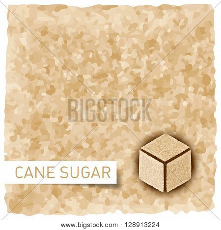 Brown sugar background. Textured backdrop and cane sugar cube