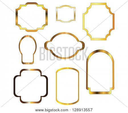 Nine empty frame outlines with gold effect