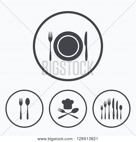 Plate dish with forks and knifes icons. Chief hat sign. Crosswise cutlery symbol. Dessert fork. Icons in circles.