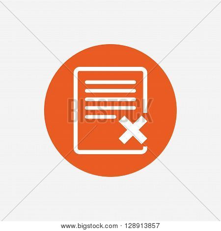 Delete file sign icon. Remove document symbol. Orange circle button with icon. Vector