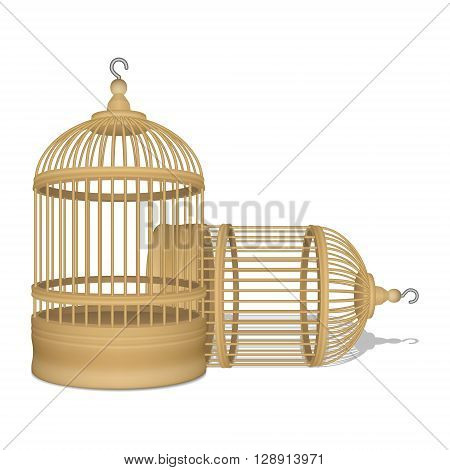 Vector realistic two wooden yellow cages on white background