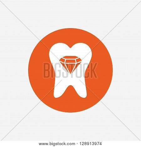 Tooth crystal icon. Tooth jewellery sign. Dental prestige symbol. Orange circle button with icon. Vector