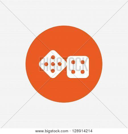 Dices sign icon. Casino game symbol. Orange circle button with icon. Vector