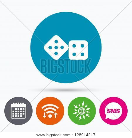 Wifi, Sms and calendar icons. Dices sign icon. Casino game symbol. Go to web globe.