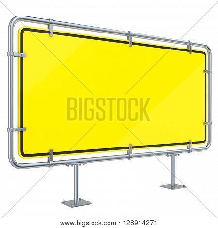 Blank framed traffic road sign standing. 3D render illustration isolated on white background