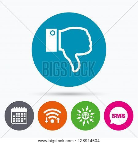 Wifi, Sms and calendar icons. Dislike sign icon. Thumb down sign. Hand finger down symbol. Go to web globe.