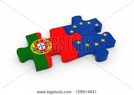 Portugal And Eu Puzzle Pieces - Portuguese And European Flag Jigsaw 3D Illustration
