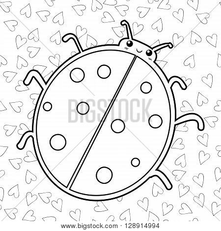Cute smiling ladybird coloring book page. Outlined illustration of a ladybug. Vector. Hearts on background.