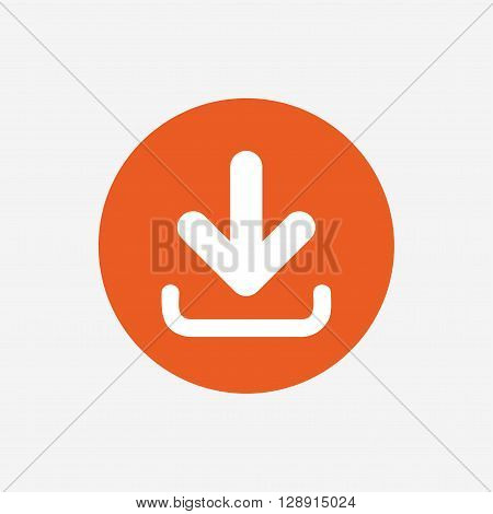 Download icon. Upload button. Load symbol. Orange circle button with icon. Vector