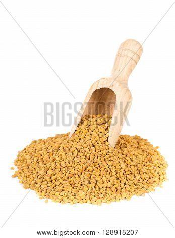 Unprocessed whole fenugreek (Trigonella foenum-graecumcumin) seeds in wooden scoop over white background