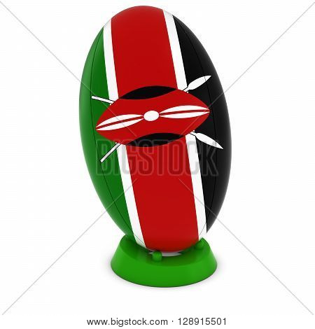 Kenya Rugby - Kenyan Flag On Standing Rugby Ball - 3D Illustration