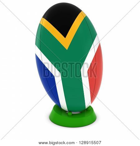South Africa Rugby - South African Flag On Standing Rugby Ball - 3D Illustration