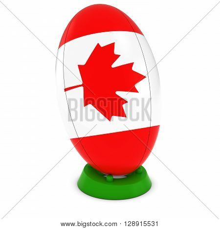 Canada Rugby - Canadian Flag On Standing Rugby Ball - 3D Illustration