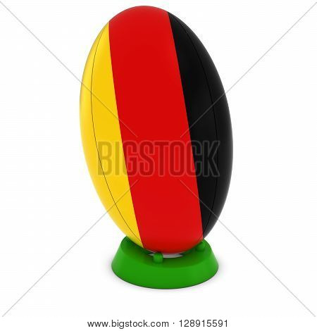 Germany Rugby - German Flag On Standing Rugby Ball - 3D Illustration