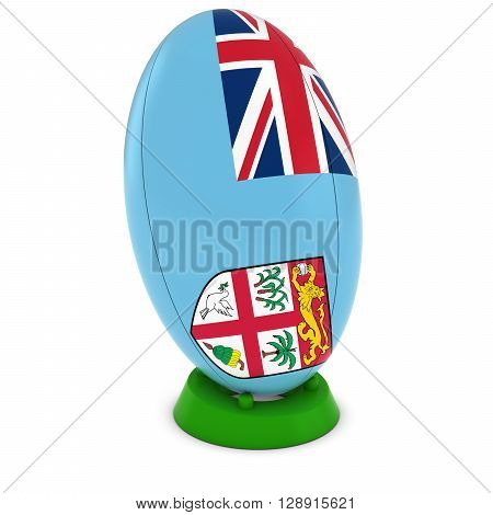 Fiji Rugby - Fijian Flag On Standing Rugby Ball - 3D Illustration