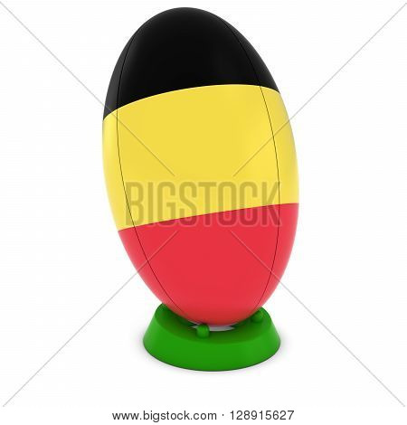 Belgium Rugby - Belgian Flag On Standing Rugby Ball - 3D Illustration