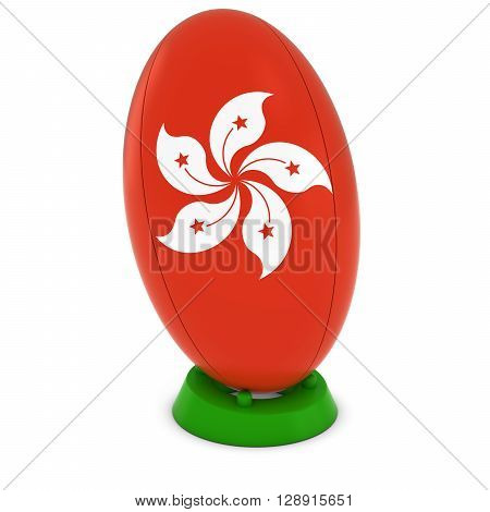 Hong Kong Rugby - Hong Kongese Flag On Standing Rugby Ball - 3D Illustration