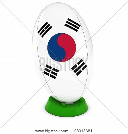 South Korea Rugby - South Korean Flag On Standing Rugby Ball - 3D Illustration