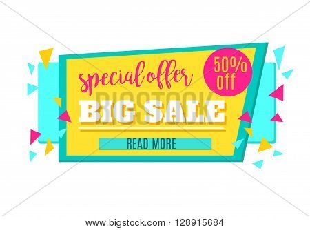 Super Sale and Special Offer paper banner. Sale background. Sale tag. Sale poster. Sale vector. Special Offer. Shopping Banner Template. 50% off. Vector illustration.