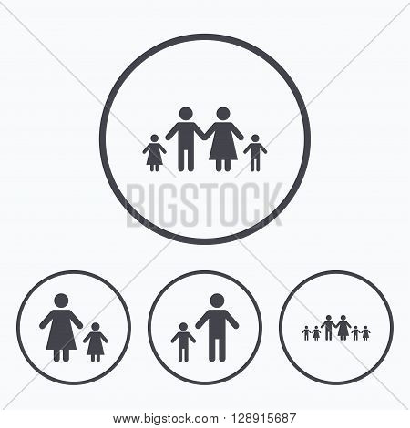Large family with children icon. Parents and kids symbols. One-parent family signs. Mother and father divorce. Icons in circles.