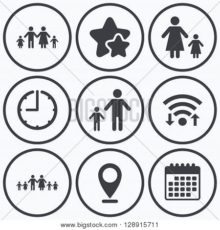 Clock, wifi and stars icons. Large family with children icon. Parents and kids symbols. One-parent family signs. Mother and father divorce. Calendar symbol.
