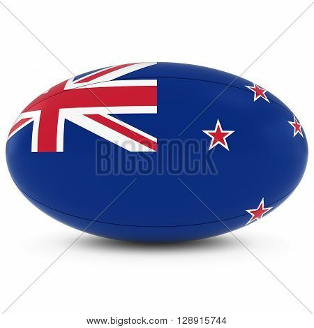 New Zealand Rugby - New Zealand Flag On Rugby Ball On White - 3D Illustration
