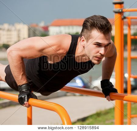 Outdoor Workout On Bars.