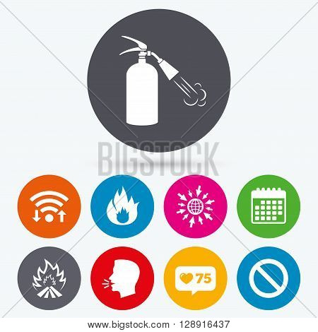 Wifi, like counter and calendar icons. Fire flame icons. Fire extinguisher sign. Prohibition stop symbol. Human talk, go to web.