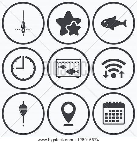Clock, wifi and stars icons. Fishing icons. Fish with fishermen hook sign. Float bobber symbol. Aquarium icon. Calendar symbol.